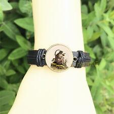 Vintage Ring Tail Lemur Bangle 20 mm Glass Cabochon Leather Charm Bracelet