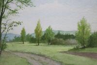 Gustav Müller Aquarell Tal - Landschaft Pappeln April 1979
