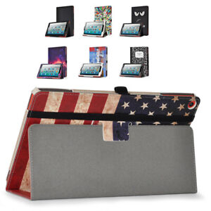 Amazon Fire HD 10 2019 Tablet Stand Case PU Leather Full Coverage Smart Cover