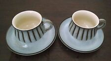 Denby England Coffee Mugs Cups Saucer Gray Brown Speckled Studio Striped Vtg 60s