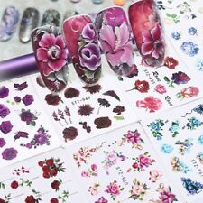 24 Pcs/set Classic Colourful Rose Flower Nail Art Sticker Simulation Decals Art
