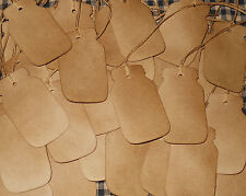 100 pc. CANNING MASON JAR SHAPE PRIMITIVE COFFEE STAINED HANG TAGS LOT