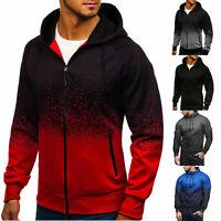 Mens Color Block Zipper Hoodie Sweatshirt Gym Sports Muscle Coat Jacket Outwear