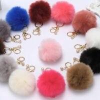 Charm Rabbit Fur Ball PomPom Cell Phone Car Keychain Pendant Handbag Keyring