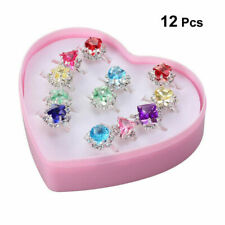 12*Christmas Costume Jewellery Girl Child Adjustable Kids Ring Set Crystal Rings