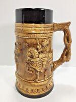 """Vintage Beer Stein Japan 7"""" Tall Brown With Black - Jousting Knights"""