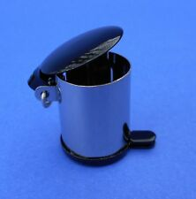 Miniature Dollhouse Garbage Can With Black Lid 1:12 Scale