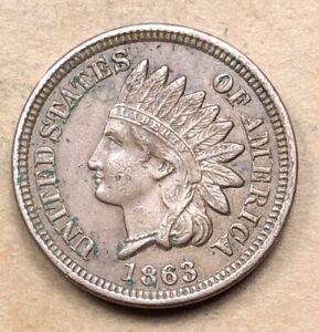 1863 Indian Cent  AU Details