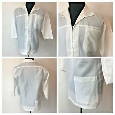 Vintage 1960s White Nylon size Xl Lab Coat Sheen Talon Zip Front Back Pocket S1