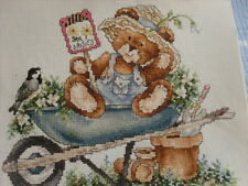 COMPLETED CROSS STITCH COUNTRY COMPANIONS TED IN A WHEELBARROW
