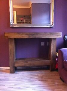 HANDMADE CHUNKY SOLID/SLEEPER RUSTIC DISTRESSED NATURAL WOOD SIDEBOARD TABLE
