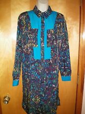 NWT womens size XS aqua green blue pink yellow watercolor DEREK LAM dress $70