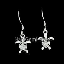 Hawaiian 925 Sterling Silver Dangle Shiny 4mm Plumeria Honu Sea Turtle Ear ring