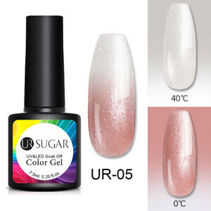 UR SUGAR Winter Thermal UV Gel Polish Purple Color Changing Glitter Nail Varnish