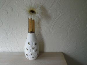 Brown  decoupaged bee design  bottle  vase