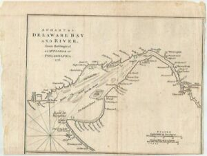 """1776 AUTHENTIC Antique Map DELAWARE BAY and RIVER Revolutionary War Era 10"""" x 7"""""""