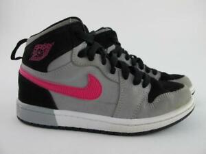 Nike Air Jordan 1 Retro High MINT Black Pink Grey Girls Youth 1Y Shoes 705321