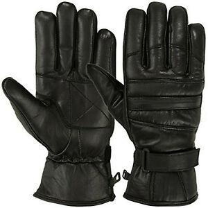 Mens Leather Motorcycle Gloves Gauntlet Driving Motorbike Riding Thermal Lining