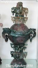 """24"""" Collect Chinese Agate Onyx Handwork Carving Incense Burner Censer Incensory"""