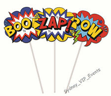 BOYS BIRTHDAY PARTY SUPERHERO COMICS CAKE TOPPER 3PK POW ZAP BOOM PICKS DÉCOR