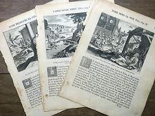 LOT 3 GRAVURES 18e siècle TOBIE Bible Sacy MERIAN 1770