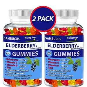(2 Pack) Elderberry Gummies with Zinc Vitamin C, D - Sambucus Elderberry Gummies