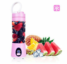 Portable juicer USB rechargeable personal blender Travel lid & shaker cup Pink