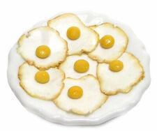 Dollhouse Miniature Plate of Fried Eggs - Handmade 1:12 scale