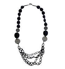 Vtg Mod Chunky Black White Stripe Plastic Bead Necklace Layered Chain Detail