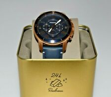 New Fossil Grant Rose Gold Navy Leather Chronograph FS5237 $145.00 Watch