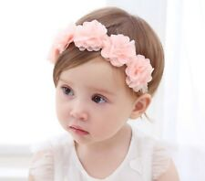 Baby birthday Girl Kid BOHO Pink chiffon Flower Elastic Hair head band Headband