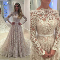 Vintage Full Laced Wedding Dresses White Ivory Bridal Gowns Long Sleeves Train