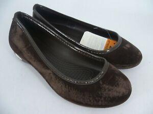 Crocs Lina Suede Flat Ballet Pumps Brown UK 4 EU 36/37 LN093 EE 11