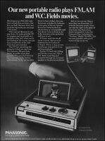1970 W C Fields Panasonic portable popup tv radio vintage photo print Ad ads32