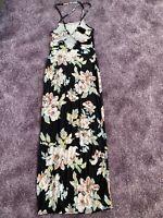 boohoo  Gr. 36 Maxikleid in schwarz mit Blumen, Spagettiträger