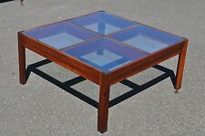 Rosewood Mid Century Modern Glass Top Coffee table