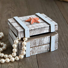 24 Distressed wooden jewelry boxes with starfish Jewelry Box Beach Party Favors