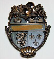 Door Knocker Brass Coat of Arms Knight Crown Castle Vintage