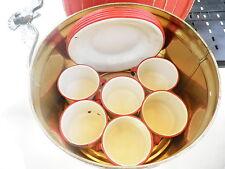 SET 6 Vintage Enamelware Coffee Cups 6 Plates Red White Enamel Camp Graniteware