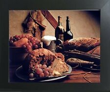 Wine & Fruit Pheasant Still Life Kitchen Wall Decor Art Print Framed Picture