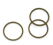 100 Anneaux de jonction Fermés Couleur Bronze 16mm Dia.