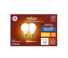 GE Relax 2-Pack 40 W Equivalent Dimmable Soft White Globe G16.5 LED Light Bulb