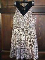 LC Lauren Conrad Women's Size 8 Sleeveless Dress Tan Black Polka Dots