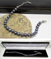 New black real freshwater pearl extending bracelet lobster clasp & gift box