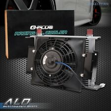"""Gplus Universal 28 ROW 10AN Engine Silver Oil Cooler + 7"""" Fixed Cooling Fan Kit"""