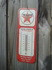 TEXACO MOTOR OIL VINTAGE STYLE METAL SIGN THERMOMETER 15 BY 5.5 INCH GAS AND OIL