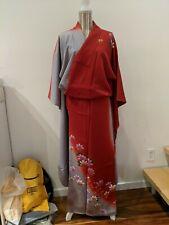 Rare silk FURISODE Kimono hand paint Kiko Floral Dress Japanese grey red