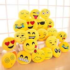 33cm Mignon Emoji Emoticon Cushion Oreiller Rond Jaune Peluche Doux Poupée Jouet