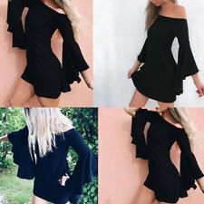 Women Off Shoulder Long Sleeve Bodycon Party Evening Cocktail Short_Mini