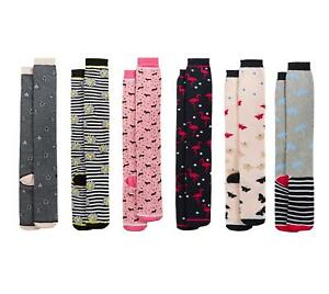 6 Pairs Of Ladies Welly Boot Socks, Long Design Wellington Sock, Size 4-7
